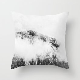 Foggy Ascent // Black and White Snowy Mountain Top Looking at the Trails through the Fog Throw Pillow