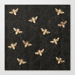 Busy Bees (Black) Canvas Print