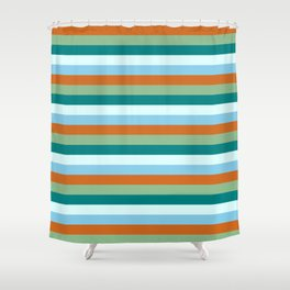 Eye-catching Chocolate, Dark Sea Green, Teal, Light Cyan & Sky Blue Colored Stripes/Lines Pattern Shower Curtain