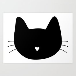 Cat Heart Nose Art Print