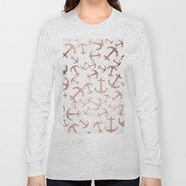 Modern faux rose gold anchors pattern white marble Long Sleeve T-shirt
