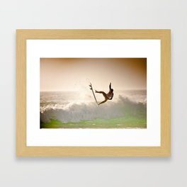Dane Reynolds, Surfing during world tour of surf Framed Art Print