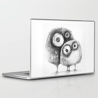 owls Laptop & iPad Skins featuring owls  by Katja Main