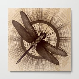 Steampunk - Mechanical Dragonfly Metal Print