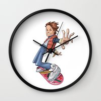 marty mcfly Wall Clocks featuring Marty by Havard Glenne