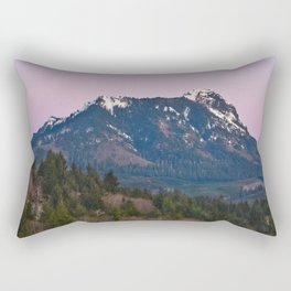 Snowy Saddle Mountain Snow Forest Pacific Northwest PNW Oregon Trees Landscape Purple Sunset Big SKy Rectangular Pillow