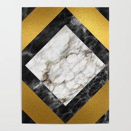 Gold foil white black marble #5 Poster