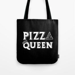Pizza Queen White on Black Tote Bag
