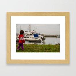 Girl At The Pier Framed Art Print