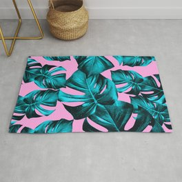 Monstera Leaves Summer Vibes Pattern #1 #tropical #decor #art #society6 Rug