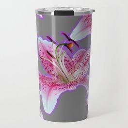 PURPLE & PINK ASIAN LILIES GREY ART PATTERNS Travel Mug