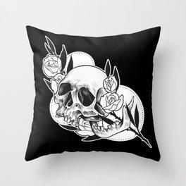 Rose branch skull Throw Pillow