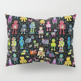 Robots in Space - on black Pillow Sham