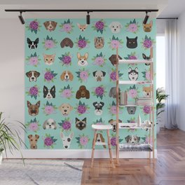 Dogs and cats pet friendly floral animal lover gifts dog breeds cat ladies Wall Mural
