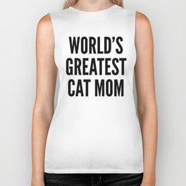 WORLD'S GREATEST CAT MOM (Brown) Biker Tank