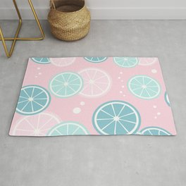 Cute colorful summertime pattern background with lemon slices Rug