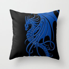 Flying Blue and Black Tribal Dragon Throw Pillow