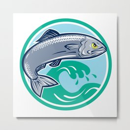 Sardine Fish Jumping Circle Retro Metal Print