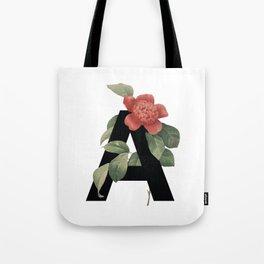 Floral Alphabet Prints: Letter A Tote Bag