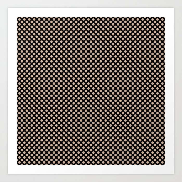 Black and Toasted Almond Polka Dots Kunstdrucke