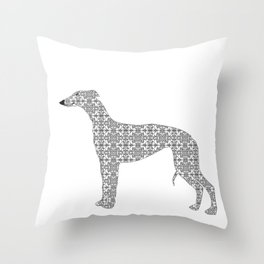 Damask Whippet Dog Art Throw Pillow