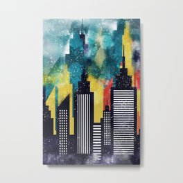 New York City Skyscrapers In Watercolor Art, New York Poster, Wall Art Home Decor, City Skyline Art Metal Print