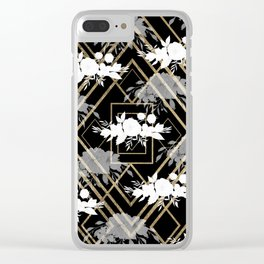 Geometrical faux gold black white floral pattern Clear iPhone Case