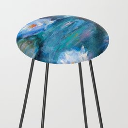 Blue Water Lilies Counter Stool