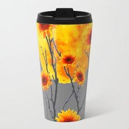 Red Gold Color Fantasy Sunflowers  Flowers Moon  Art Travel Mug