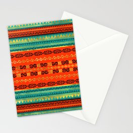Ethnic Tribal Pattern Gold Orange and Teal Stationery Cards