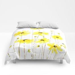 yellow cosmos flowers watercolor Comforters