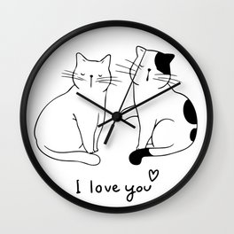 A couple of cats in love line art single line drawing one line drawing valentines gift idea Wall Clock