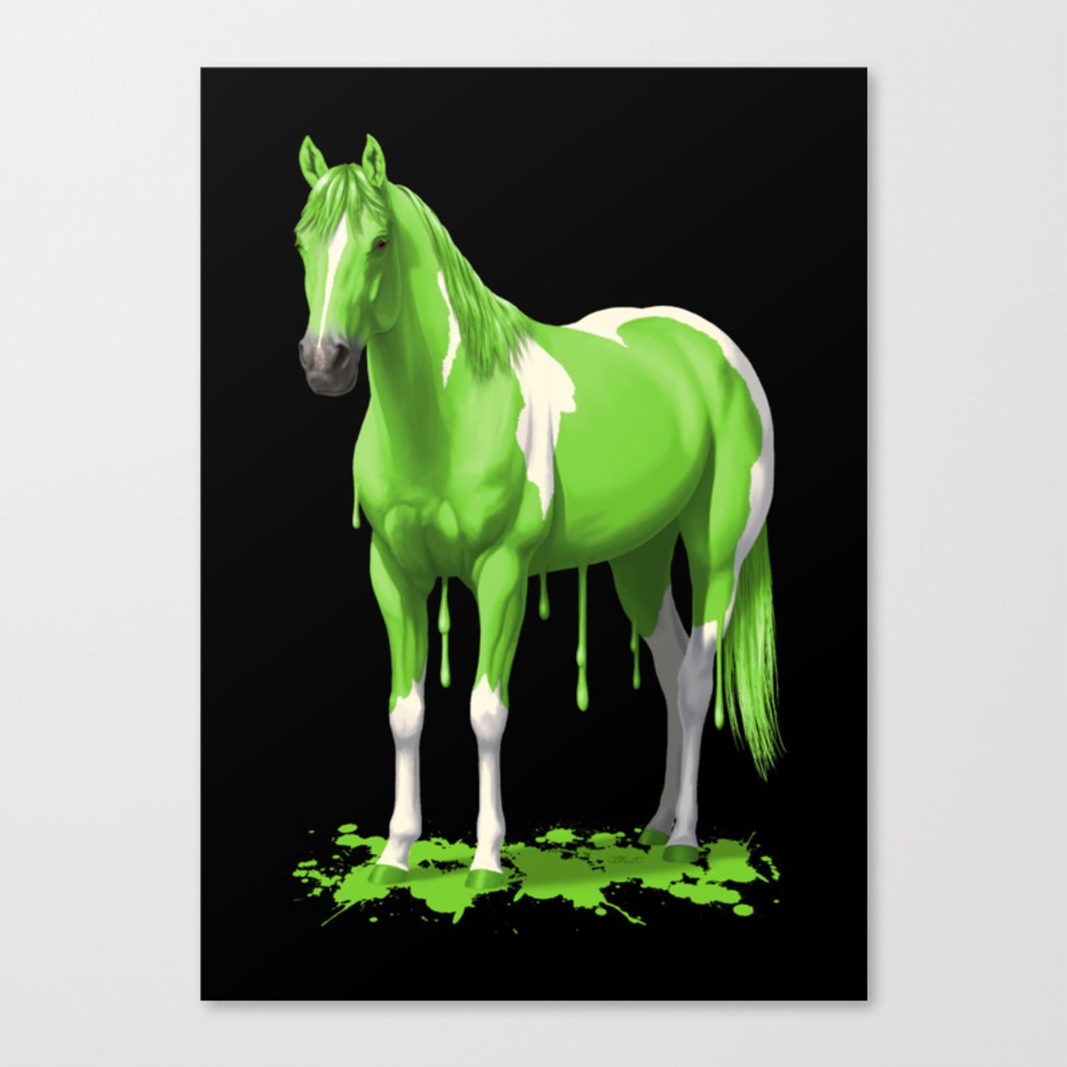 Lime Green Pinto Dripping Wet Paint Horse Canvas Print By Csforest Society6