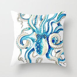 Blue Octopus Crosshatch Watercolor Comic Throw Pillow