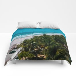Waves and Palms Comforters