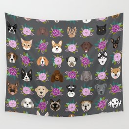 Dogs and cat breeds pet pattern cute faces corgi boston terrier husky airedale Wall Tapestry