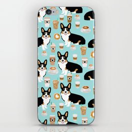 Welsh Corgi tri colored coffee lover dog gifts for corgis cafe latte pupuccino iPhone Skin