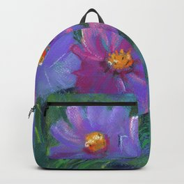Garden flowers (Cosmos bipinnatus, Mexican aster) pastel painting on pastel paper) Backpack