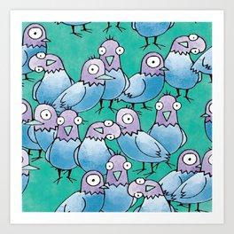 Pigeon Crowd Art Print
