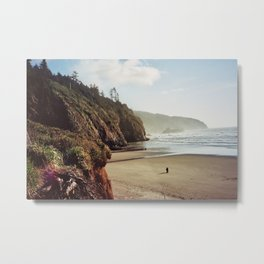 Cape Lookout, Oregon w. Person 35mm Kodak Portra Metal Print