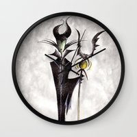 maleficent Wall Clocks featuring Maleficent by Jena Sinclair