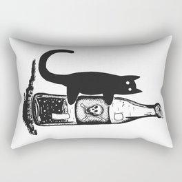 Cat and bottle Rectangular Pillow