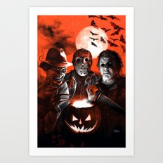 Freddy Krueger Jason Voorhees Michael Myers Super Villians Holiday Art Print