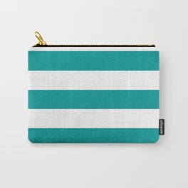 Viridian green - solid color - white stripes pattern Carry-All Pouch