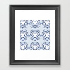 Blue floral heart Framed Art Print