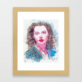 Hedy Lamarr the most beautiful woman in the world watercolor by Ahmet Asar Framed Art Print