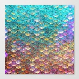 Aqua and Gold Mermaid Scales Canvas Print
