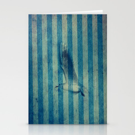 seagull in cyan Stationery Cards