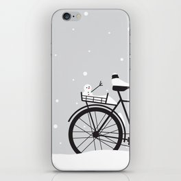 Bicycle & snow iPhone Skin