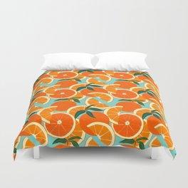 Orange Harvest - Blue Duvet Cover